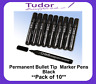 Permanent Marker Pens Black Bullet Tip - Pack of 10    1009