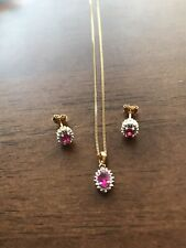 18ct Gold Plated Ruby And Diamond Necklace And Earrings Set