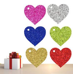 Glitter Heart Gift Tags Christmas Birthday Tag Wedding Tags