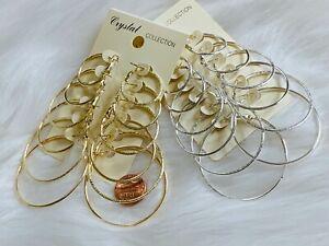 5-12 PAIRS HOOP EARRINGS SILVER GOLD TONE SIMPLE THIN HOOPS 1IN - 2.5IN ASSORTED