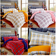 Teddy Fleece Tartan Highland Check Luxury Duvet Cover Cosy Warm Soft Bedding Set