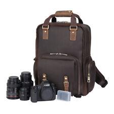 Large Mens Real Leather Laptop Camera Backpack DSLR Bag Shoulder Bag Travel Tote