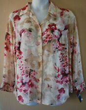 WOMEN'S PLUS SIZE 1X 16W FLOWING SUMMER BLOUSE CHAPS CLOTHING - NEW