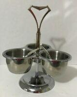 Vintage KROMEX 3 Section Condiment Caddy Lazy Susan w/Spoons Chrome MCM