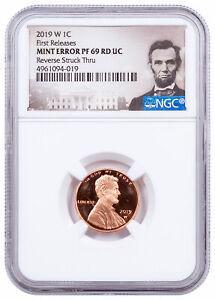 2019 W Proof Lincoln Cent Reverse Struck Thru NGC PF69 Mint Error FR Lincoln Lbl