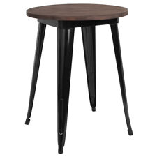 """24"""" Round Black Metal Restaurant Table with Walnut Wood Top - Cafe Table"""