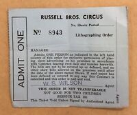 Vintage Russell Bros. Circus Admission Ticket