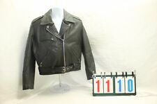 Excelled Vintage Mens Leather Motorcycle Black Heavy Sz Large Fringe Zippers