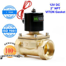 """U.S. Solid 2"""" Brass Electric Solenoid Valve 12V DC Normally Closed Water Air oil"""