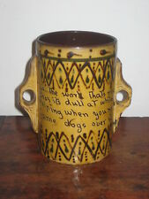 OLD SLIPWARE COUNTRY POTTERY HANDLED VESSEL CHARLES KINGSLEY VERSE