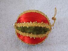 Vintage Handmade Red Satin Green & Gold Christmas Ornament