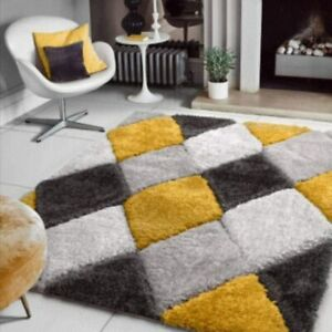 Mustard Yellow Shaggy Rug Non Shed Polyester Living Room Rugs Cosy Bedroom Rugs