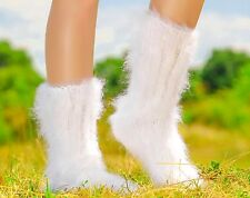 SUPERTANYA Hand knitted mohair socks Fuzzy handcrafted WHITE leg warmers SALE