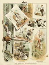 Hotel Fire Escape A Rope for every Room The Rope Act of New York 1887 Cartoon