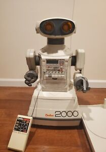 Vintage Tomy Omnibot 2000 Robot  with Tray and  Remote - Works but need some TLC