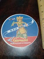 """Garuda Indonesian Airways Vintage Airline Luggage Label """"See Bali"""""""
