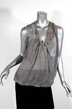 VANESSA BRUNO Womens Heather Gray Lace Sleeveless Blouse Shirt Tank 1 NEW