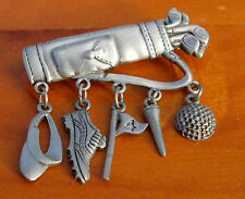 Golfer's Golf Bag Clubs JJ Charms Jonette Silver Tone Metal Pin Pinback Brooch
