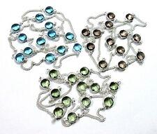 925 Silver Plated 3 Pcs Chain Smoky, Blue Topaz, Green Amethyst Quartz