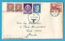 JERSEY OCCUPATION - 1943 CIVILIAN COVER TO PARIS VIA CENSORED GERMAN FIELD POST