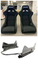 PAIR - 2 BRIDE ZETA Black  Seats Low Max JDM BUCKET Racing Seats WITH SLIDERS