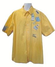 Enyce Mens 3XL Yellow Short Sleeve Streetwear Multi Patches Button Up Shirt 3XL
