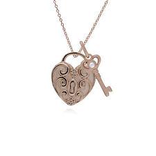 Oro Rosa Plata de Ley Espiral Colgante Corazón y Perla Llave Dije sobre 45cm
