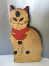 Vintage FOLK ART TABBY/Spotted CAT w/Red bow Painted Wood - Signed & Dated