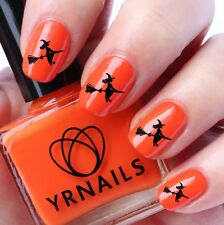 NAIL Wraps Nail Art acqua trasferimenti Decalcomanie-Halloween Strega su Scopa-h046