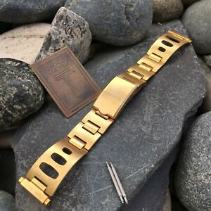 rare Gold-tone Rally Deployment 1960s 1970s nos Vintage Watch Band 20mm 19mm