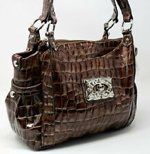 NWT Kathy Van Zeeland Croco Embossed Patent Leather Brown Handbag Purse Satchel