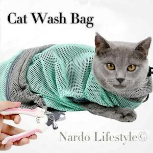 Cat Grooming Bag Kitten Wash Polyester Mesh Scratch Bite Resistant Nail Bath