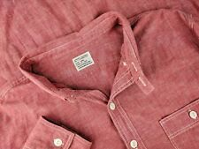 J CREW Mens Selvedge Red Cotton Linen Summer Blend LS Button Down Shirt Large L