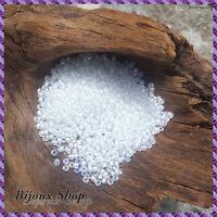 50 grs de Perles de rocailles 2,1mm, Cristal Irisé Lined Blanc
