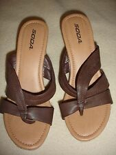 Soda heels size 10 brown faux leather wedge strappy NWOB