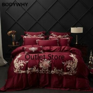 4/7Pcs Red Egyptian Cotton Bedding Set Chinese Embroidery Duvet Cover Pillowcase