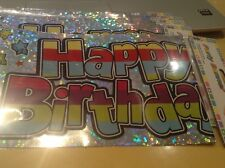 Happy Birthday Banner Silver Congratulations Long Sign Party Decoration