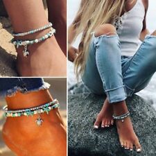 Anklet Beach Sandal Ankle Bracelet Hot Boho Starfish Turquoise Beads Sea Turtle