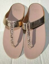 Fit flop sandals flip flops shoes size 10.5, 11 pink rose gold glitter Thongs Nw