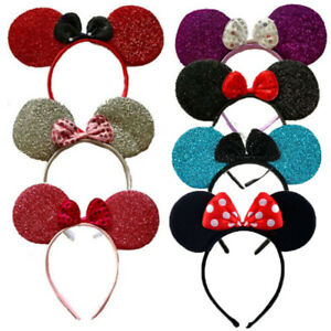 SEQUIN GLITTER MINNIE MOUSE EARS HEADBAND WITH BOW FANCY DRESS HEN NIGHT PARTY