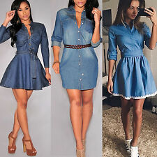AU Women's Jeans Denim Buttons Pocket Long Sleeve T-shirt Loose Shirt Mini Dress