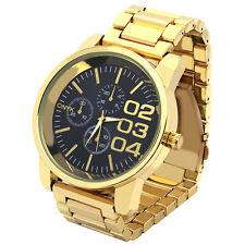 Mens Gold Plated Metal Band Black Face Fashion Casual Quartz Wrist watches 0123