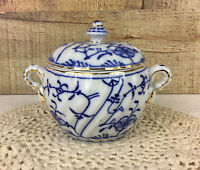 Vintage Blue Swirl Sugar Bowl Germany With Lion Floral Design