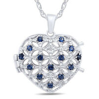 """Blue Sapphire And Diamond Accent  Heart Locket 14K White Gold Over Sterling 18"""""""