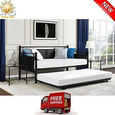 Day Bed Metal & Upholstered Sofa Couch Daybed with Twin Trundle Guest Room NEW