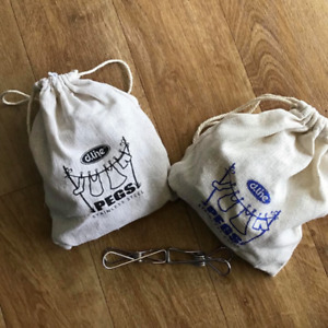 D.Line stainless steel s/s grade 304 large clothes pegs - hemp bag with 30 large