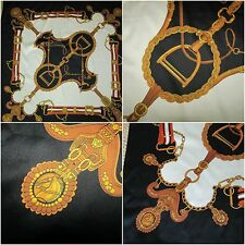 LARGE Scarf made ITALY 90 x 90 equestrian vintage black gold cream horses