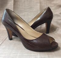 Cole Haan Size 6 1/2 B Open Toe Peep Brown Heels Pumps Shoes Leather