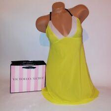 Victoria Secret Lingerie Chemise Slip Babydoll Teddy Yellow Medium Sheer