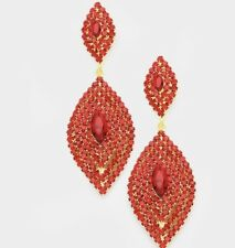 Rhinestone Prom Long Crystal Pageant Earrings 3.5� Red Gold Big Dangle Drop